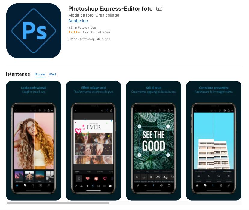 Photoshop Express-Editor: migliori app per editing foto