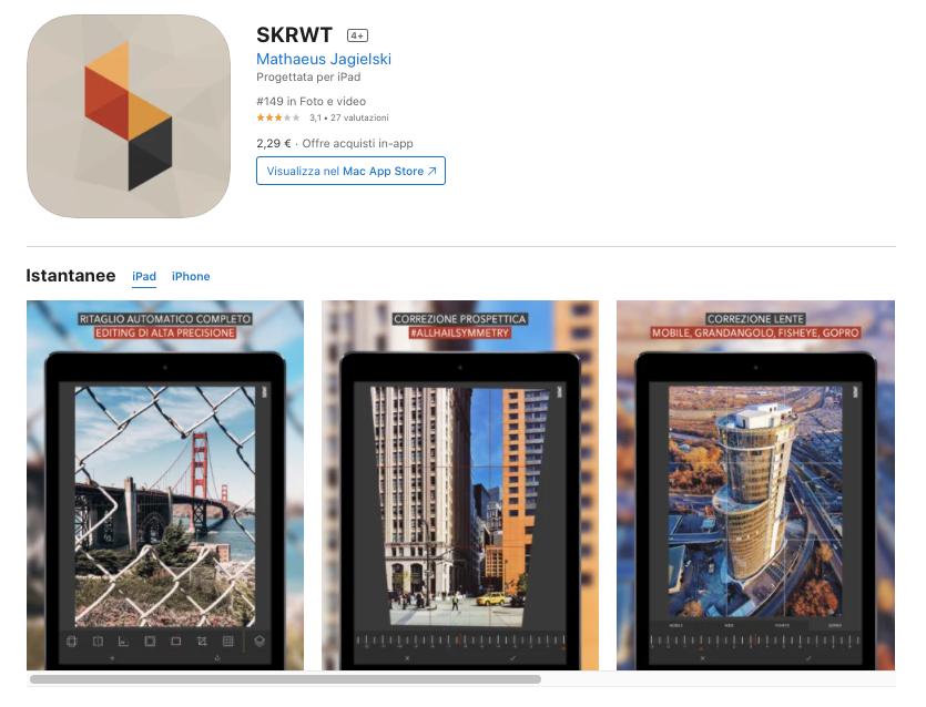 SKRWT app per modificare foto a pagamento