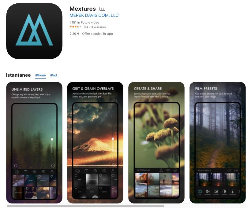 Mextures: app per modificare foto a pagamento