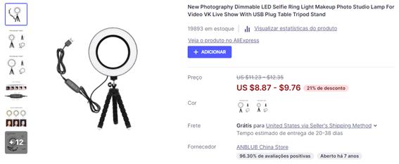 O que vender para ganhar dinheiro e ter renda extra: ring light
