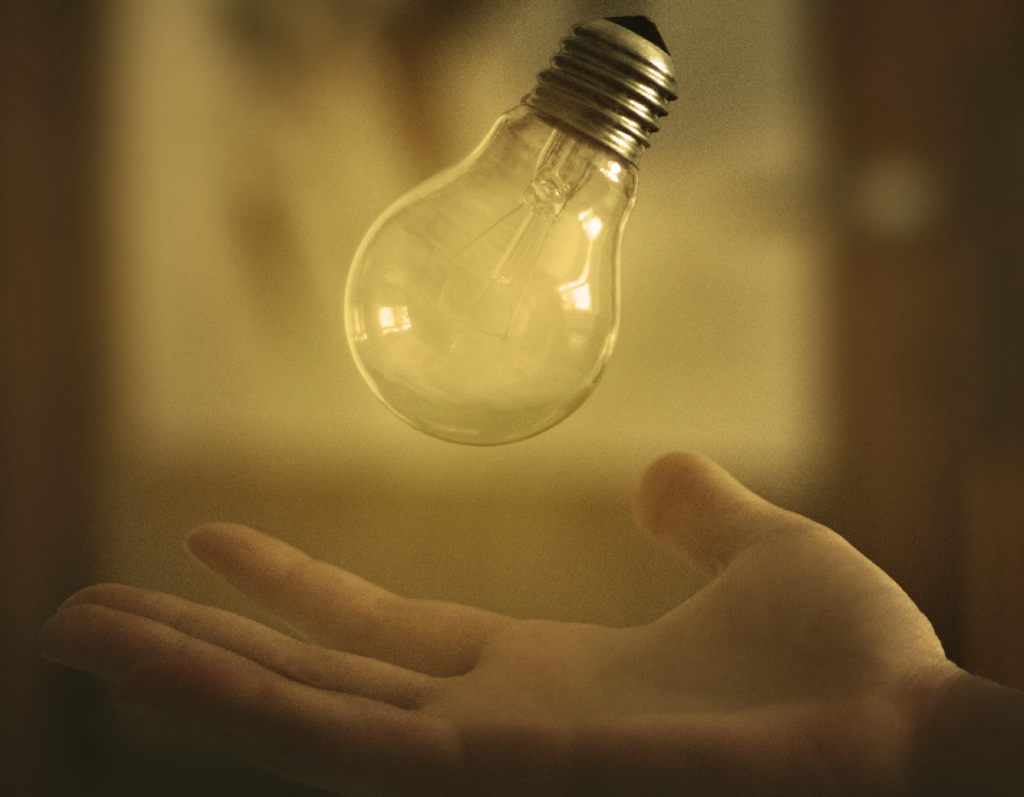 Lighted bulb symbolizing the idea, the innovation