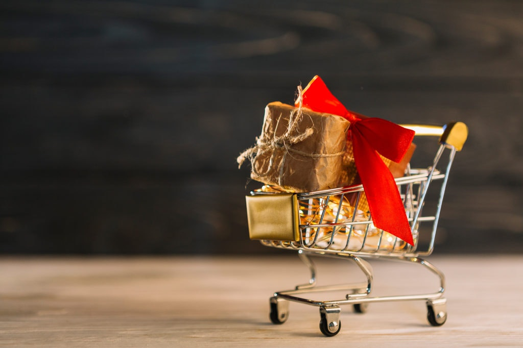 Cart filled with gifts