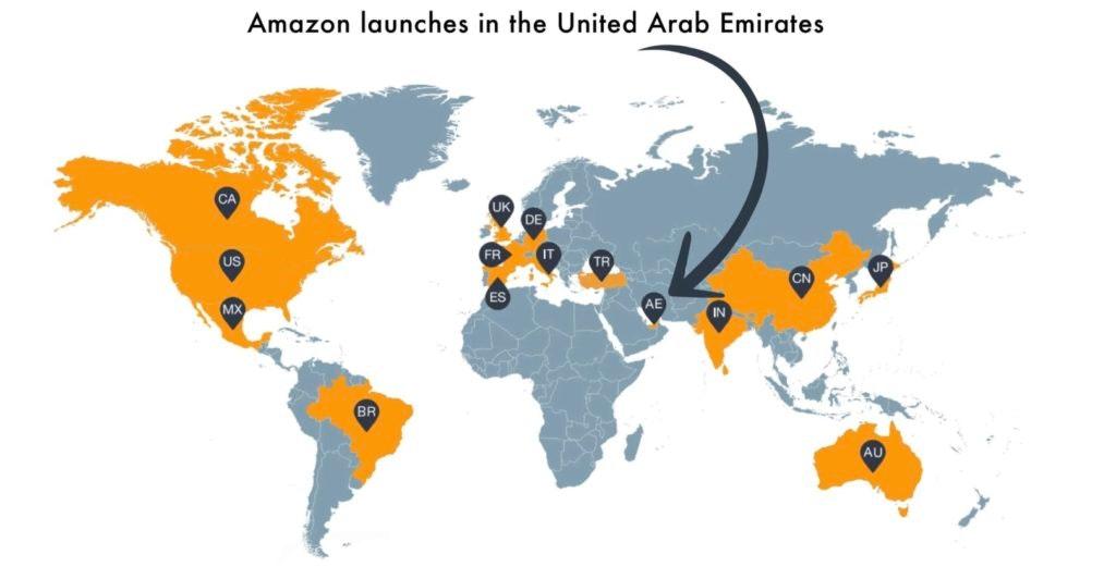 Amazon se lance aux Emirats - carte