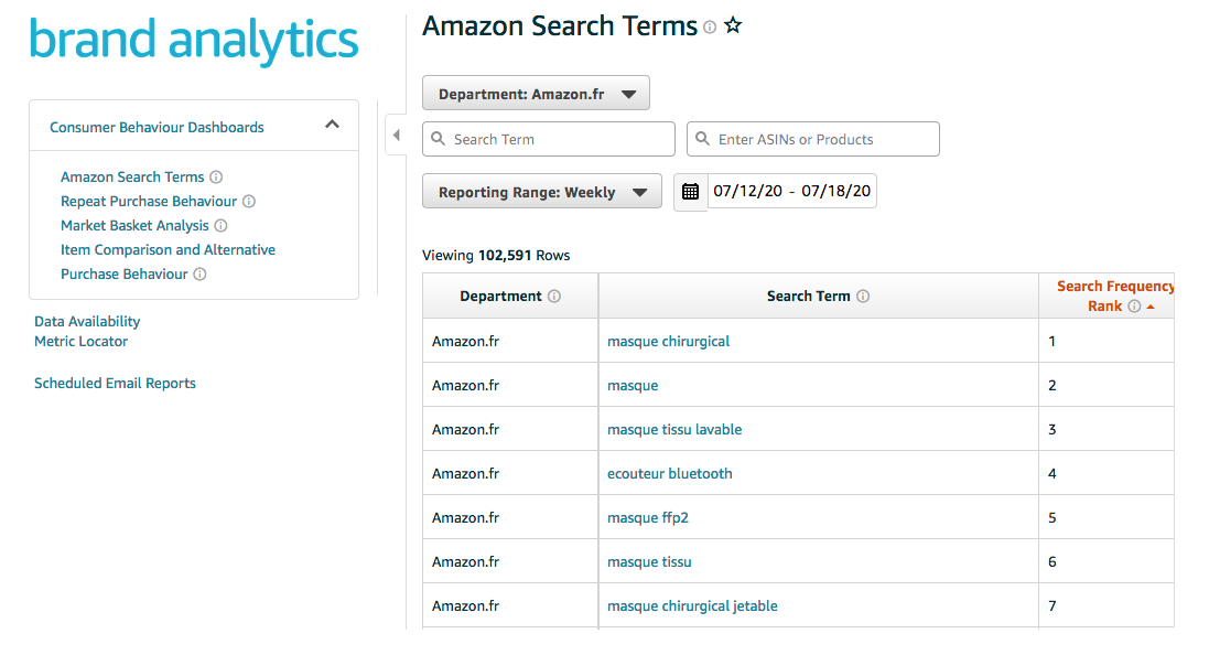 Amazon Search Terms Interface