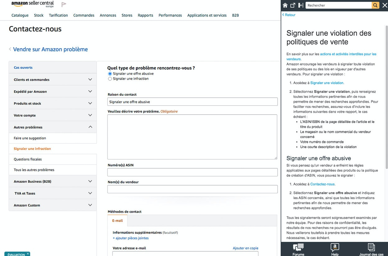 """L'outil """"Signaler une infraction"""" sur Amazon"""