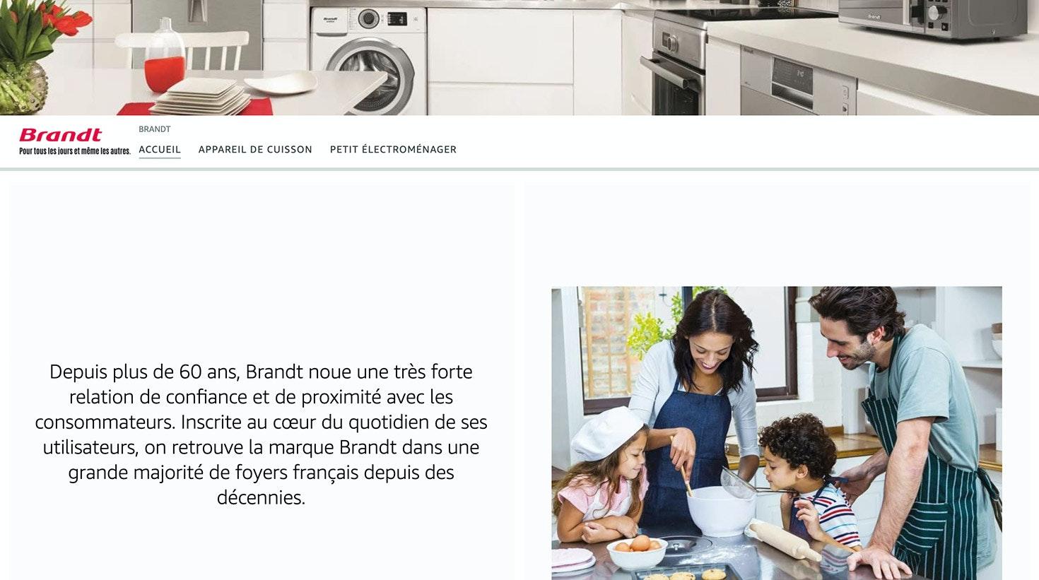 Le Brand Store de la marque Brandt sur Amazon