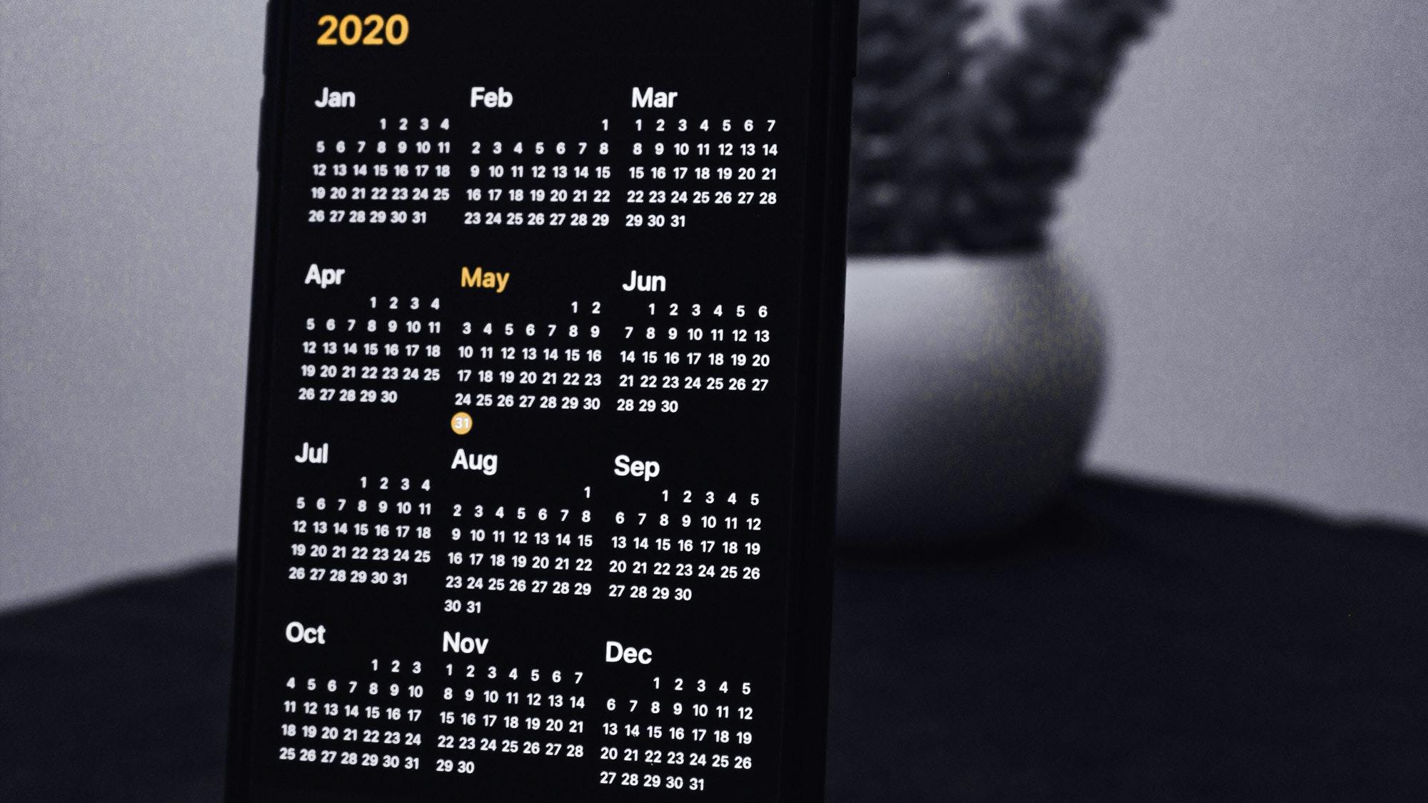 2020 key dates on Amazon calendar