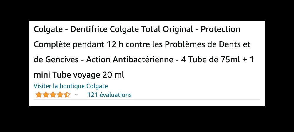 Le titre de la fiche produit Colgate sur Amazon.fr