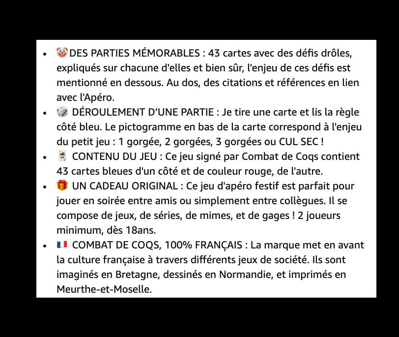 Les bullet points de la marque Combatdecoq sur Amazon.fr