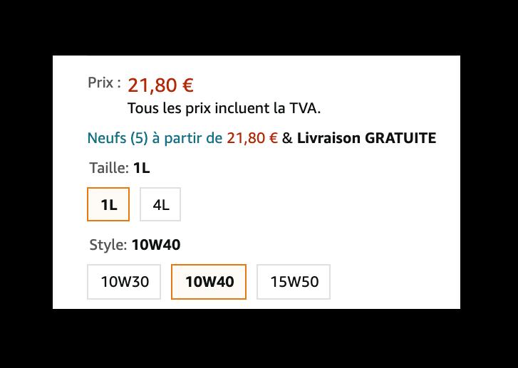 Les variations d'une fiche produit sur Amazon.fr