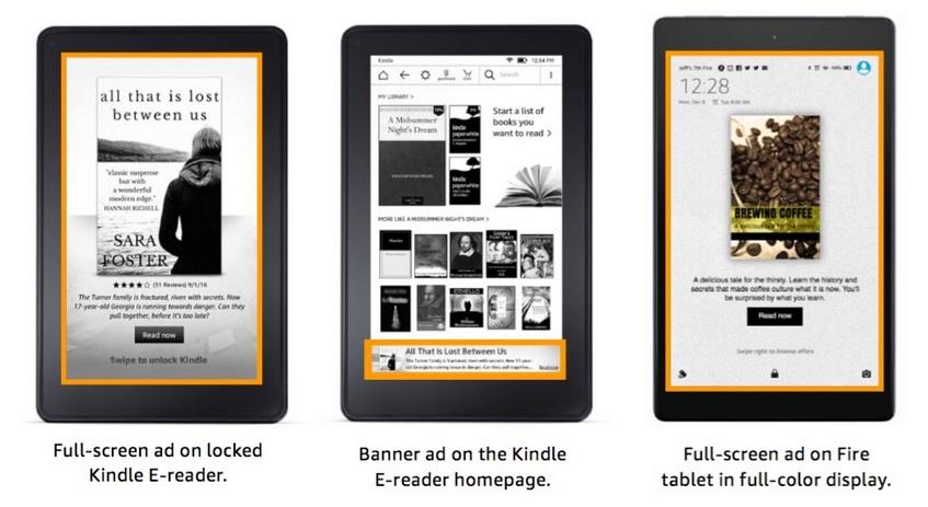 Présentation de l'affichage d'une publicité DSP sur Kindle