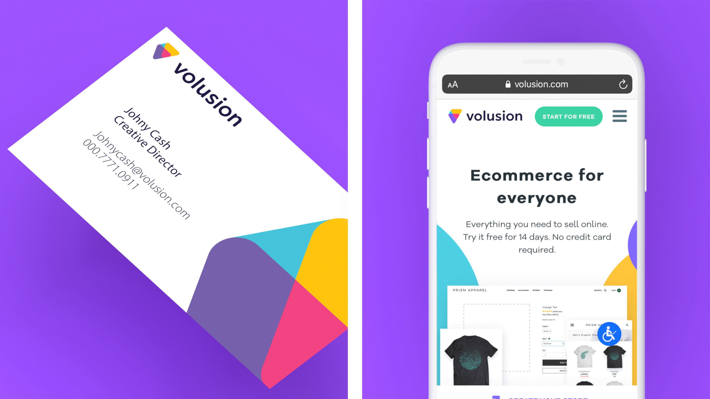 Volusion business cards and mobile website
