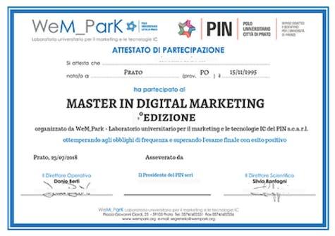 Attestato di Partecipazione Master in Digital Marketing