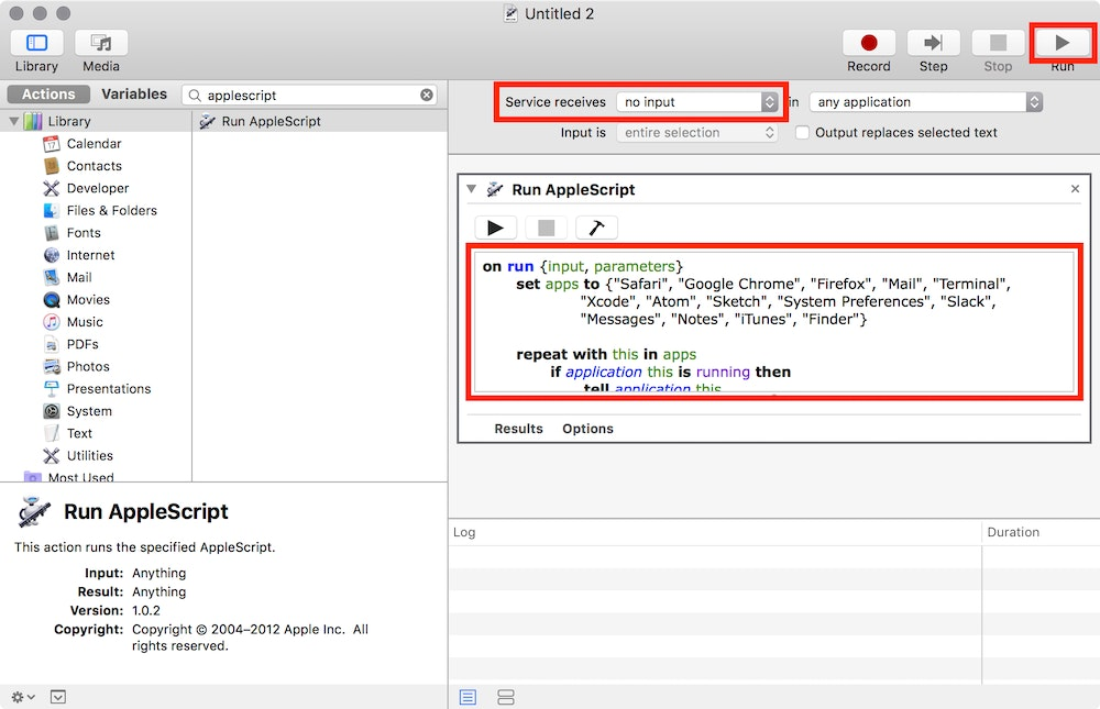 Adding a new AppleScript action to the Automator service.