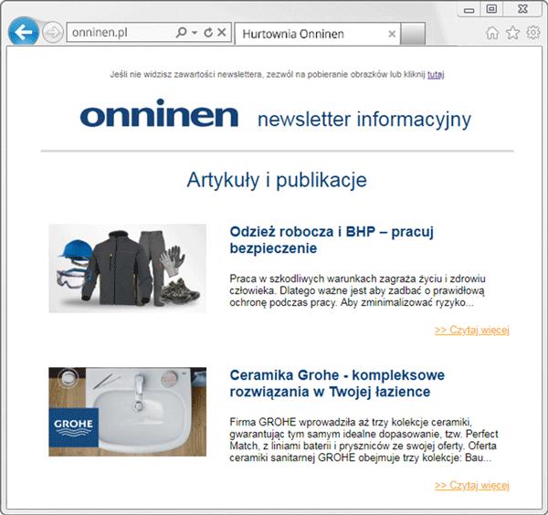 Moduł w newsletterze Onninen
