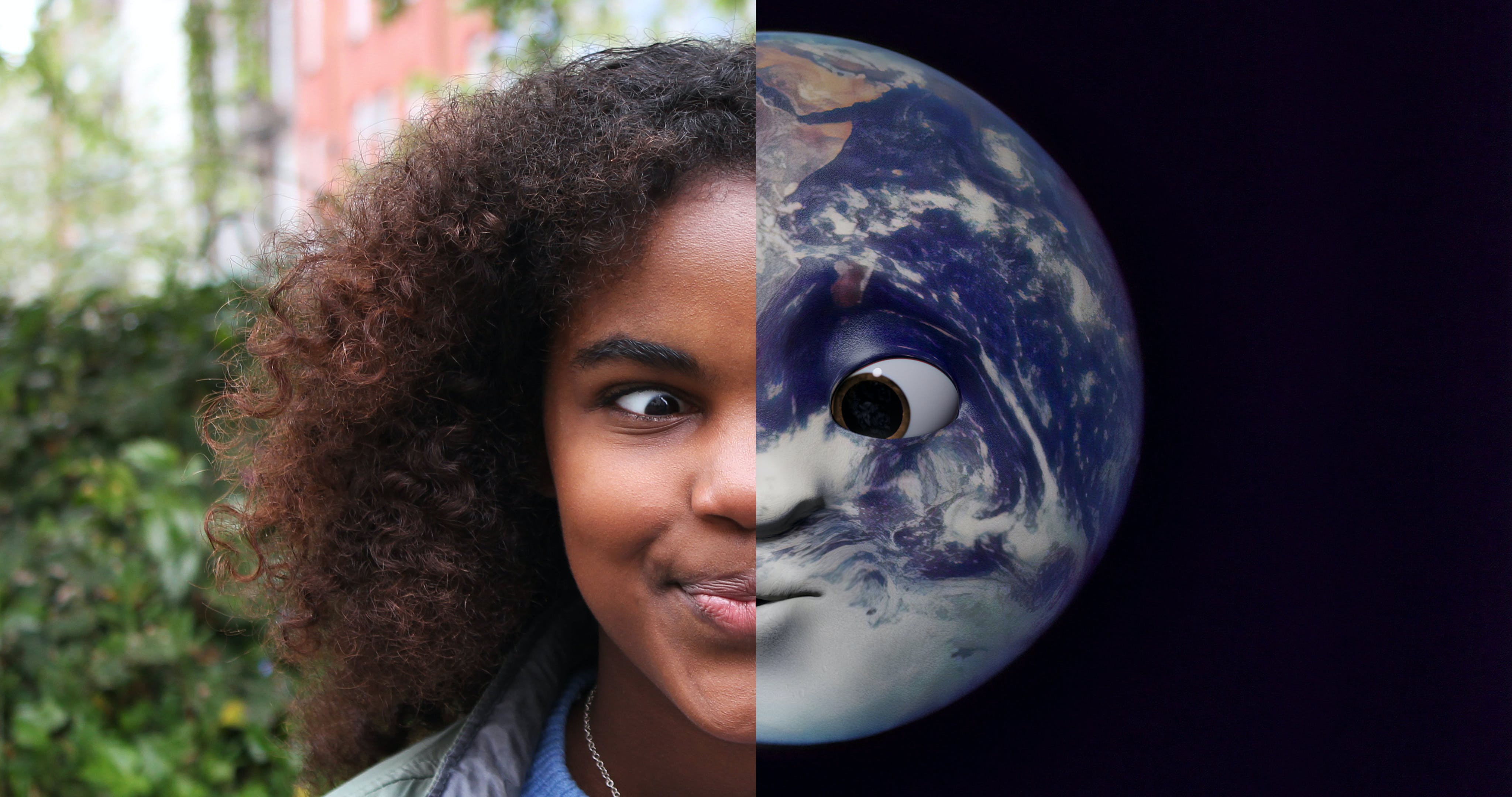 Split screen of girl squinting on left side and earth squinting on right side