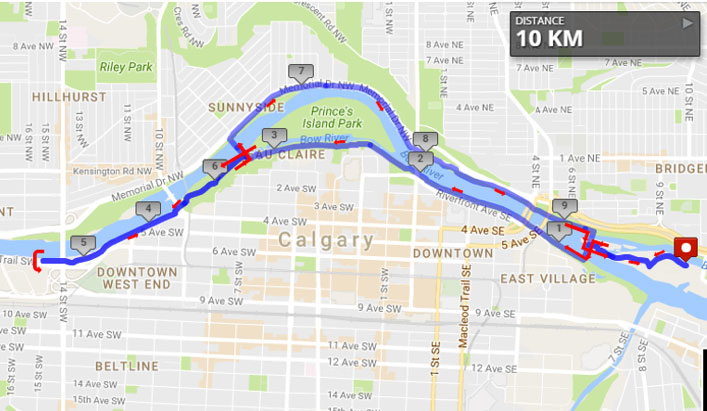 10K Run route map