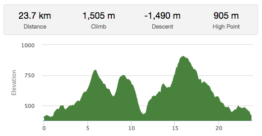 25K Trail Run Elevation