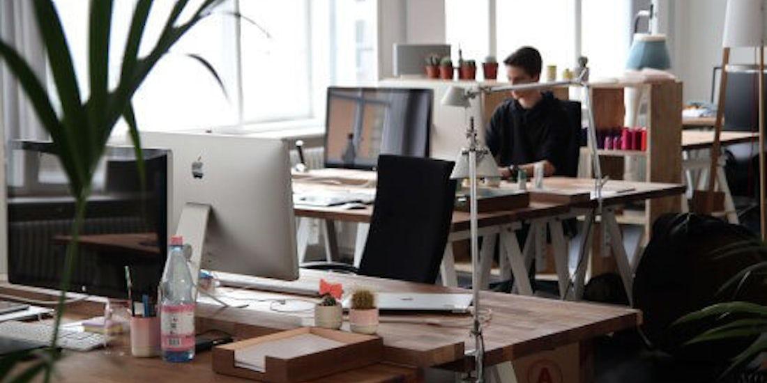 one employee in an empty office