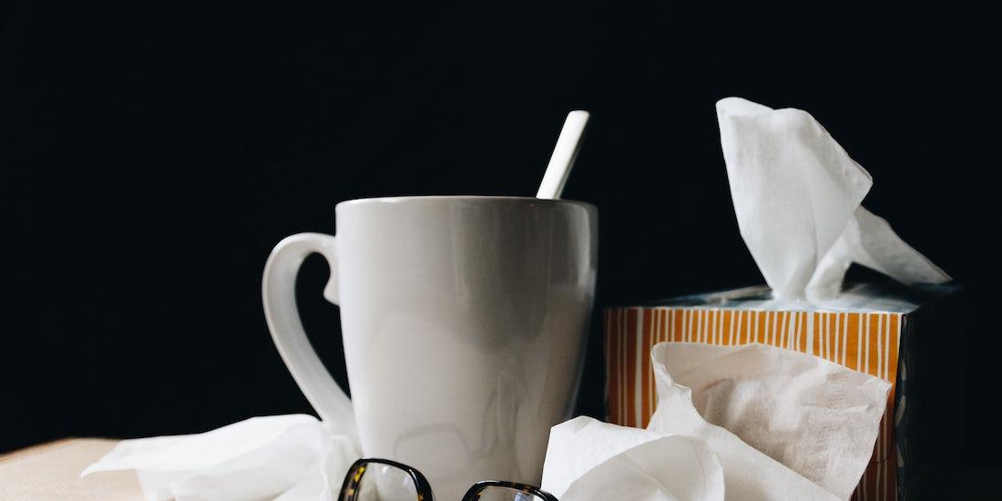 tissues, glasses and mug