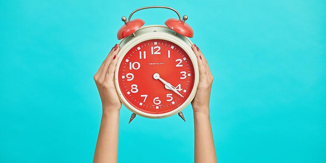 clock in hands