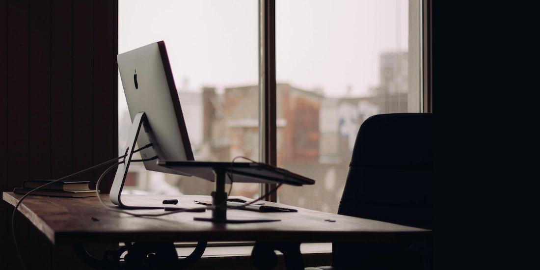 laptop in an empty office