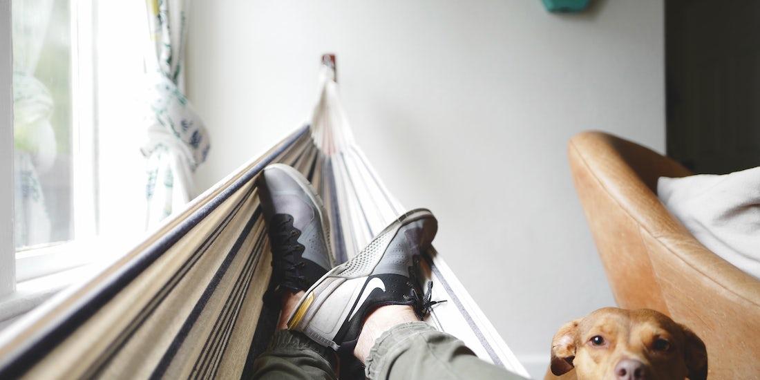 feet up in a hamper