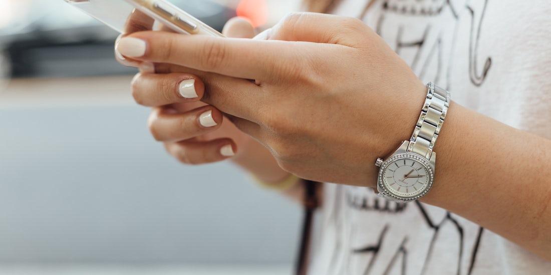female using mobile phone