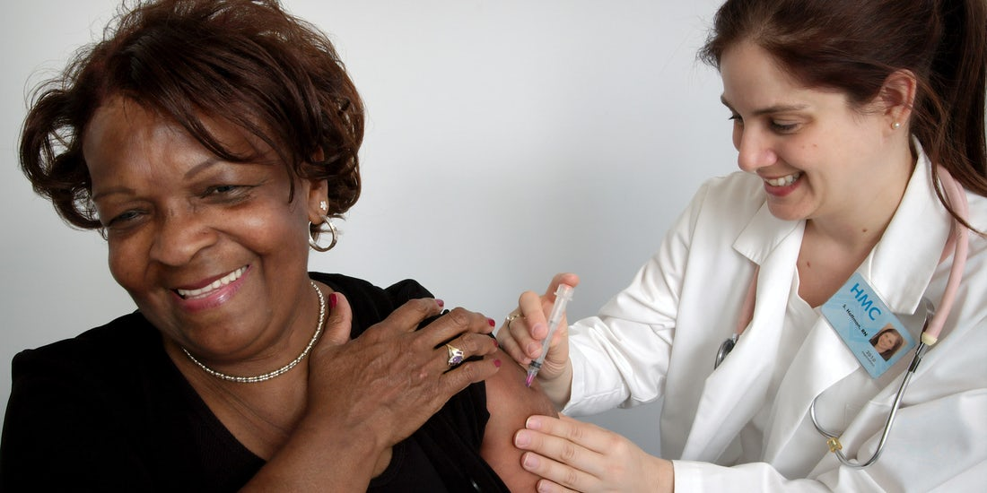 employee having a vaccination