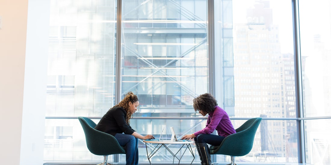 two females having a meeting