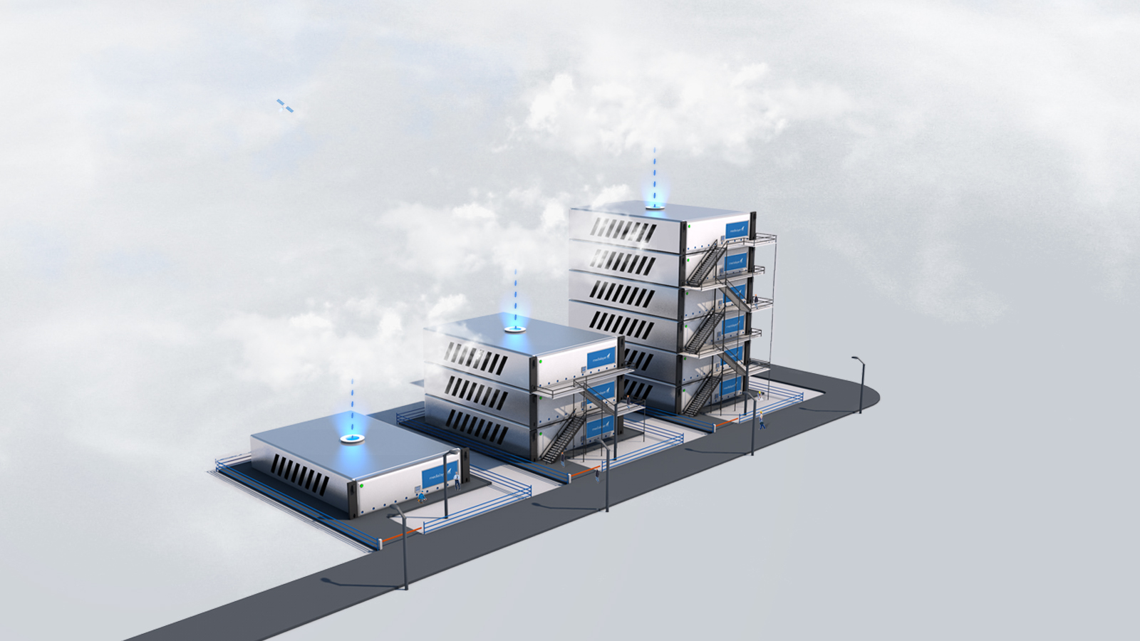 3D Illustration by Timi Kokol and Adam Roberts, showing hosting servers and data transferred in the clouds