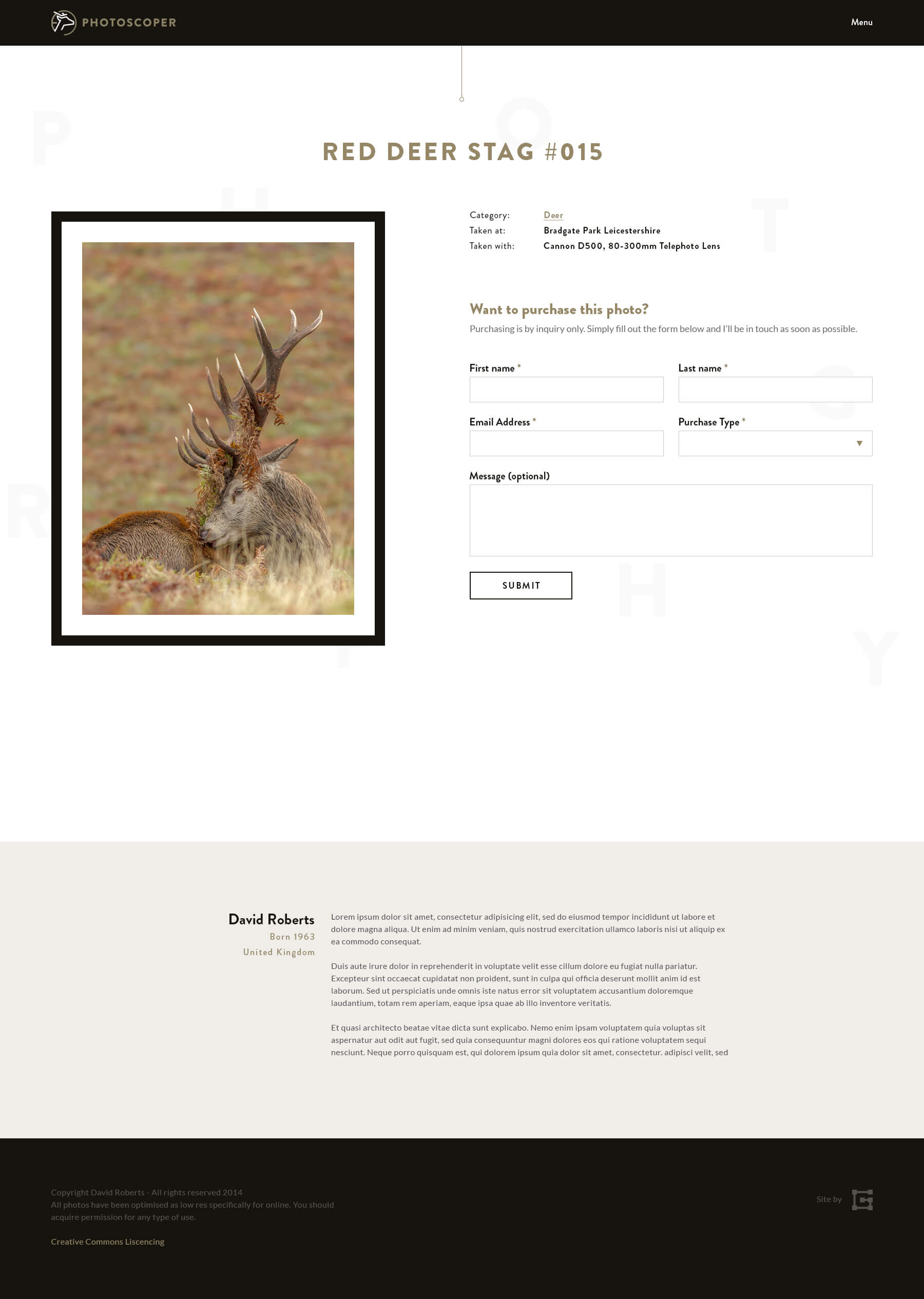 Photoscoper individual photo page design