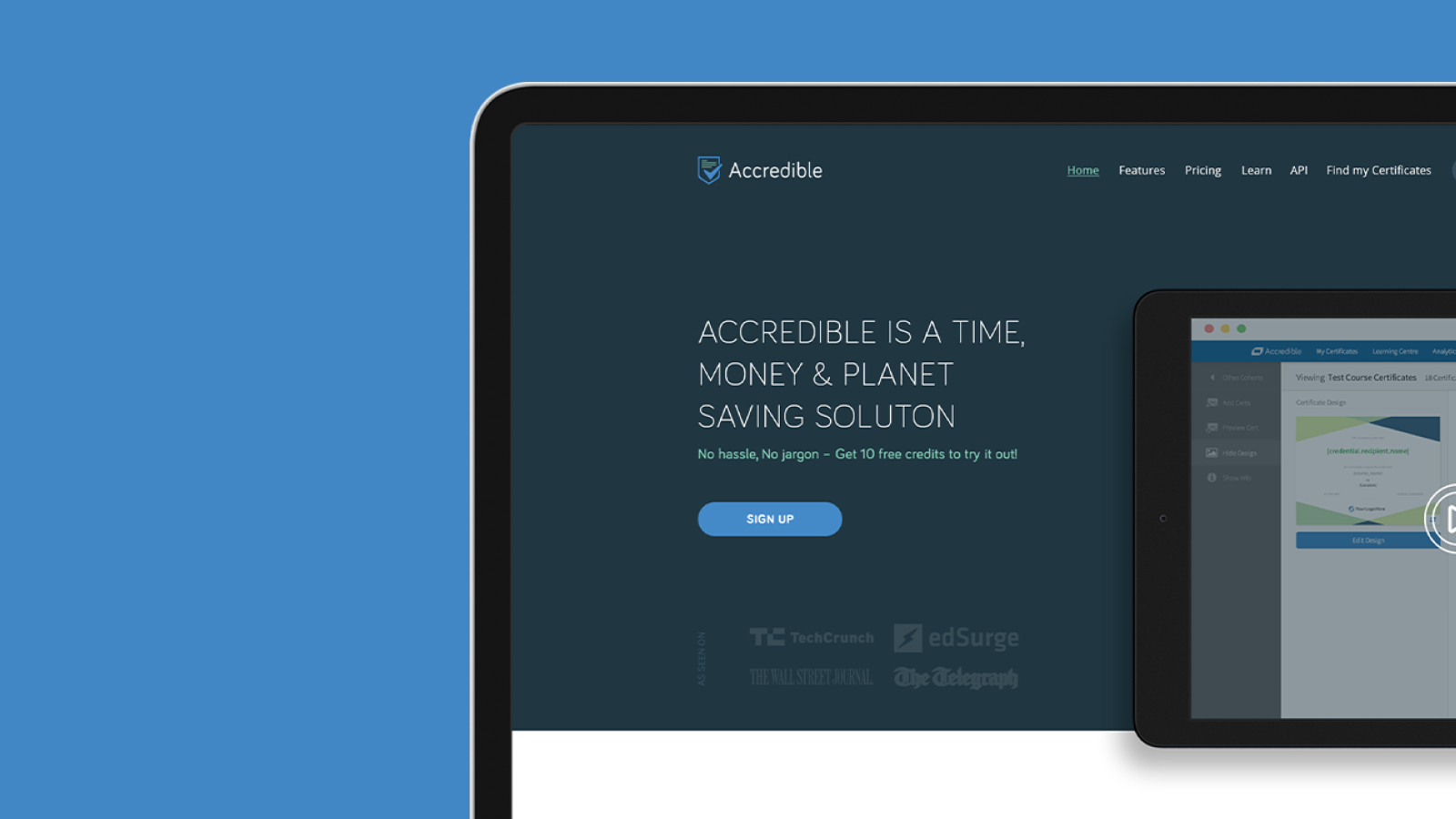 Accredible website design