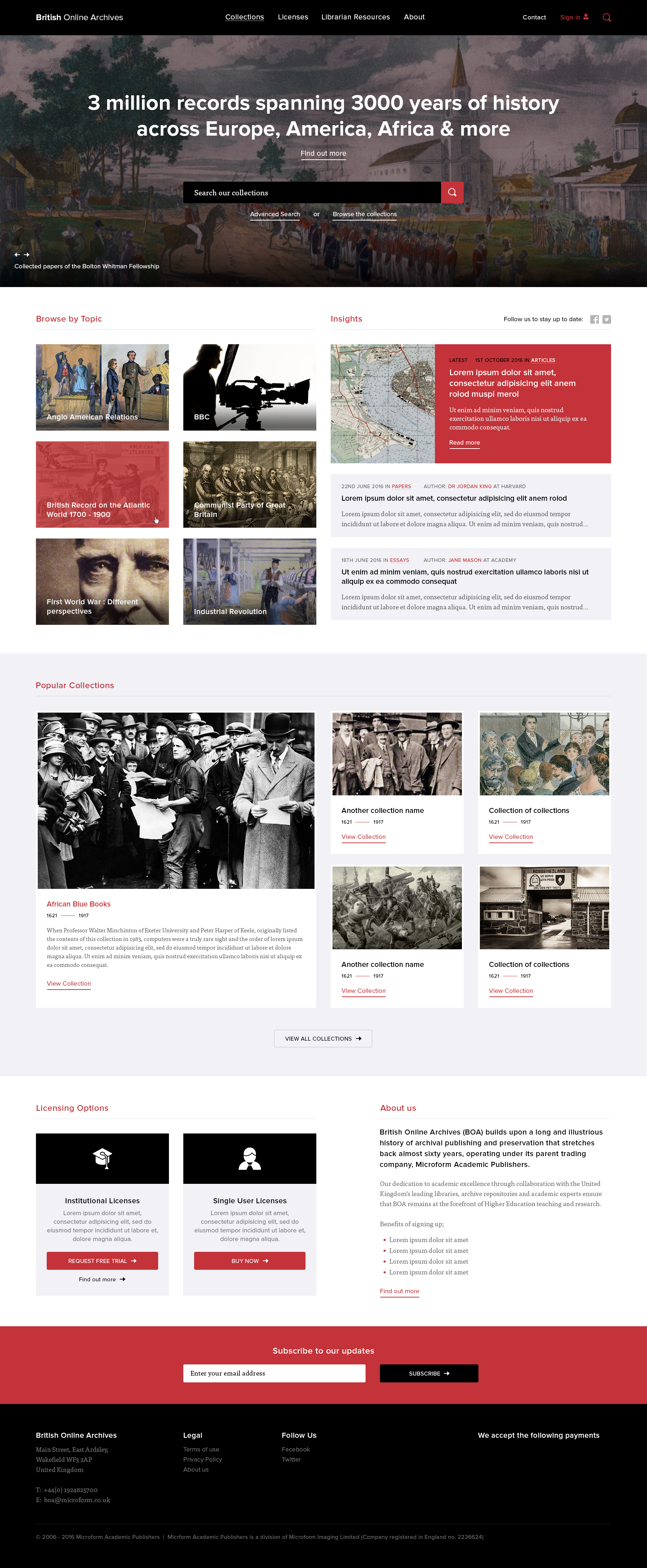 Homepage design for the British Online Archives