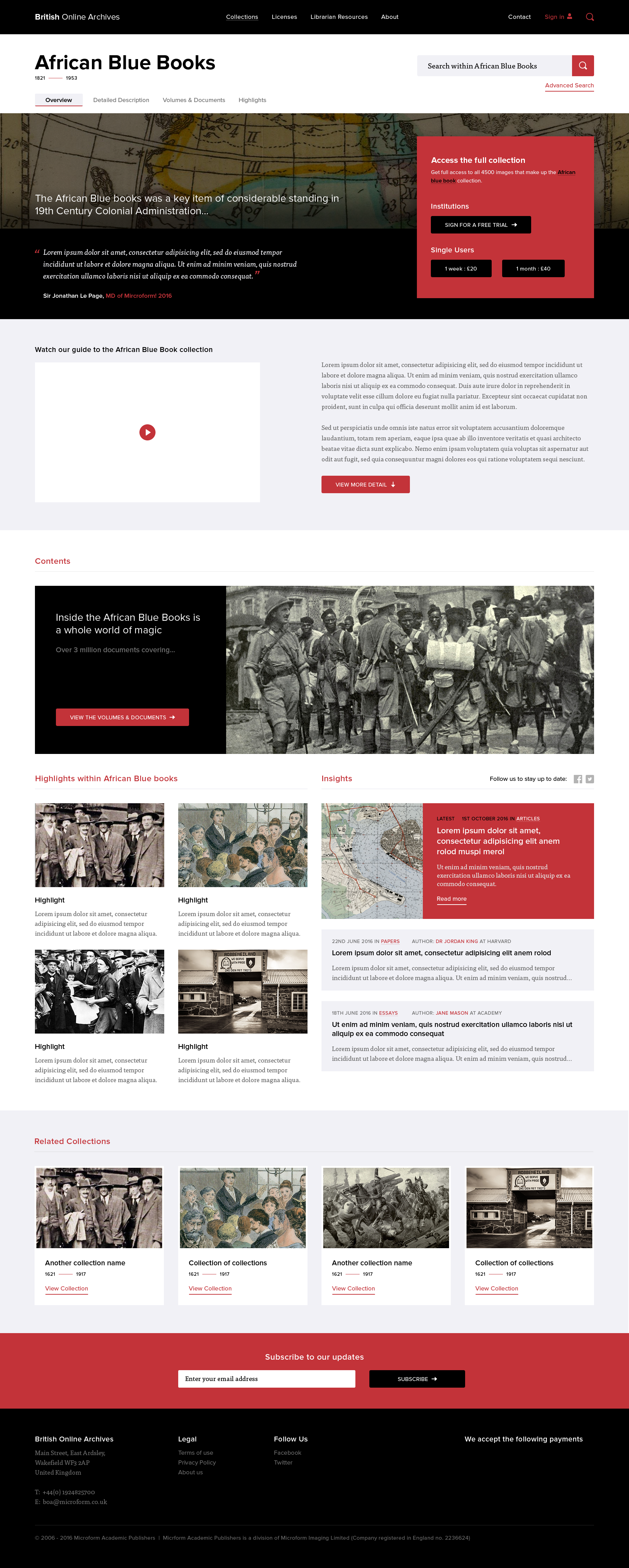 Category overview page design for the British Online Archives