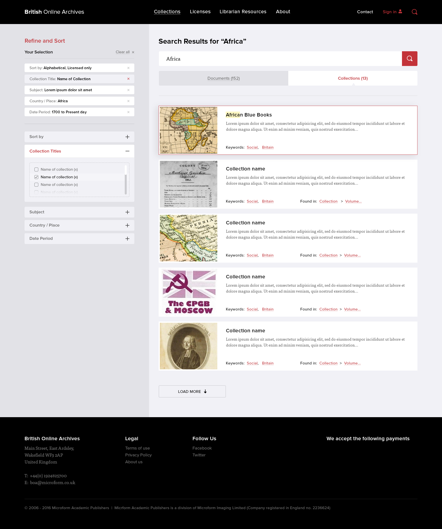 Search results design for the British Online Archives