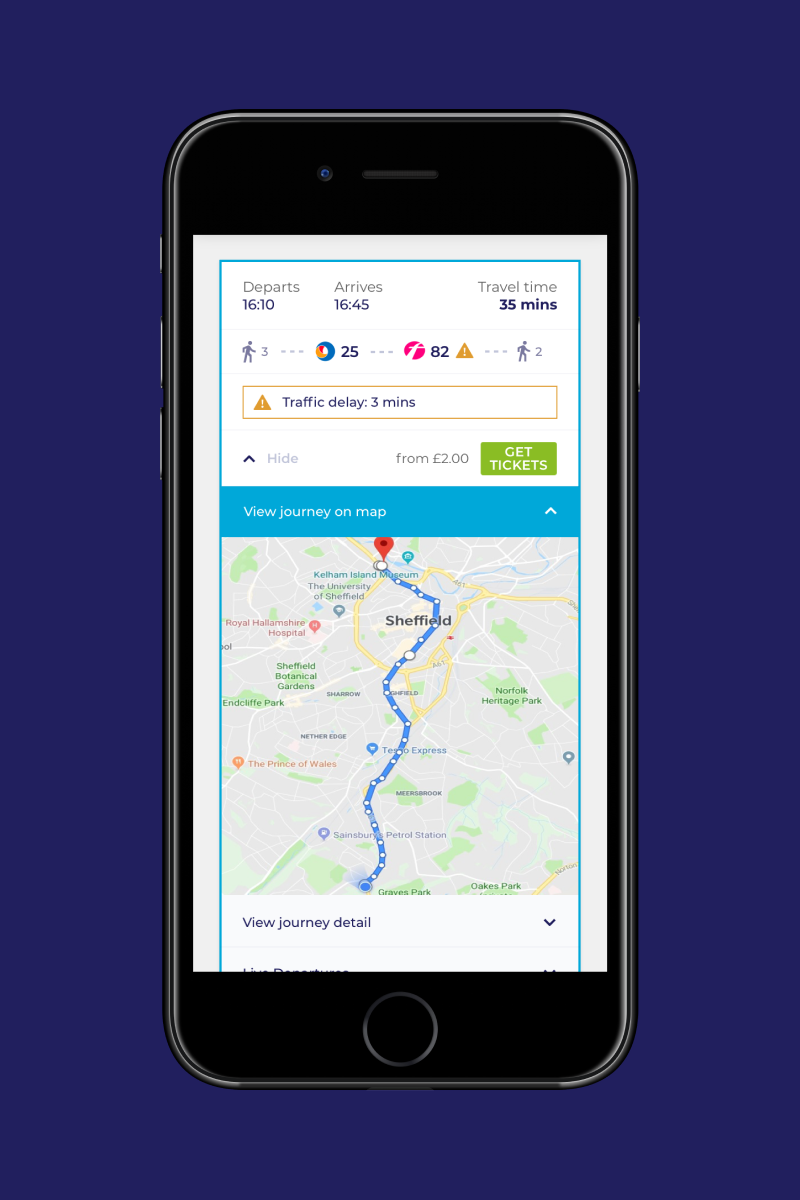 Buses for Sheffield - mobile journey map design