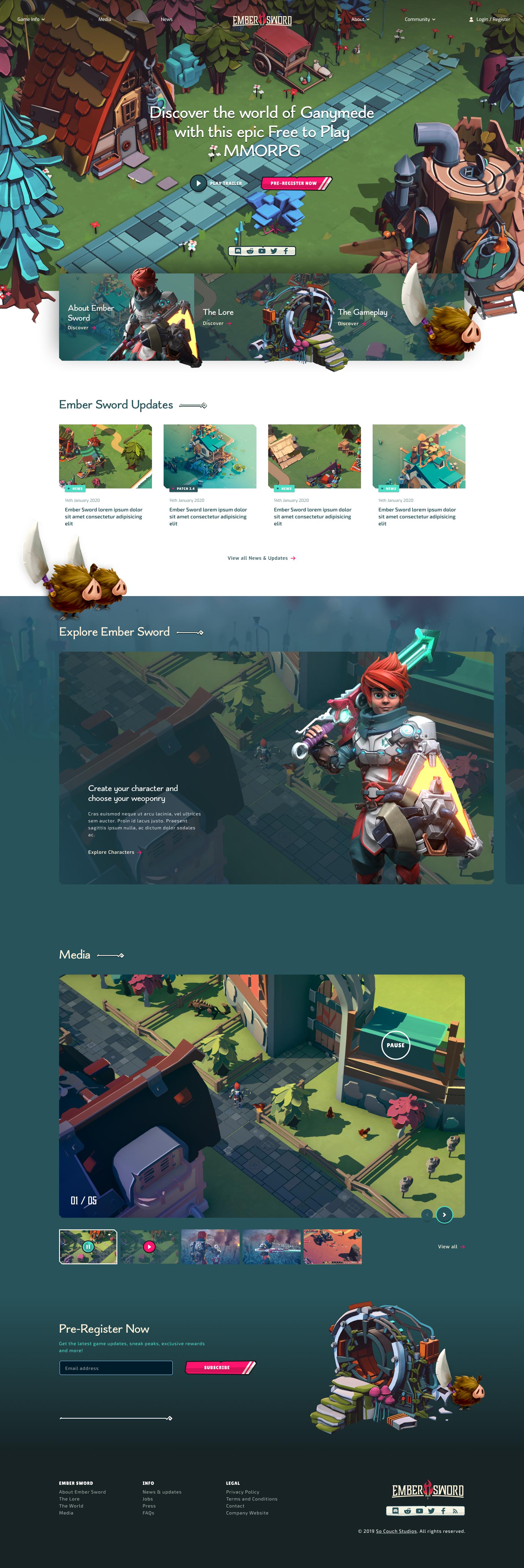 Ember Sword full homepage design