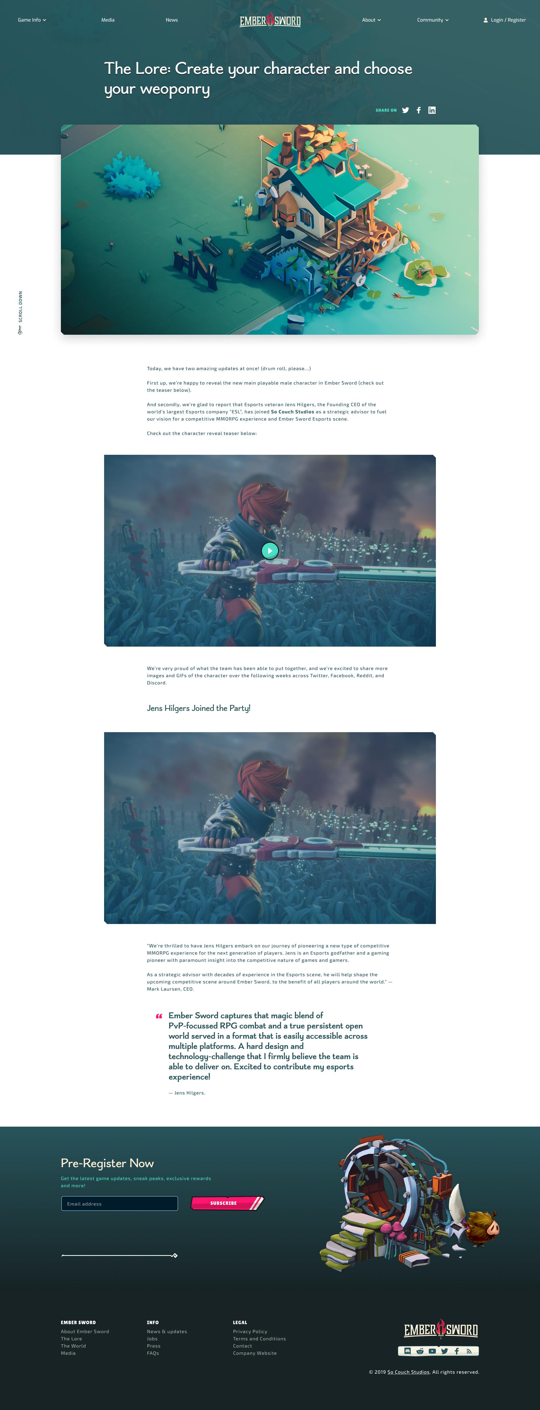 Ember Sword - Game info detail page design