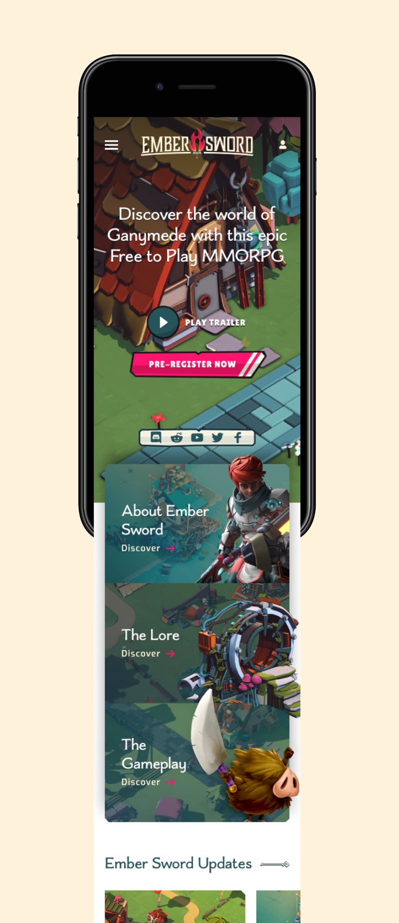 Ember Sword mobile homepage UI design