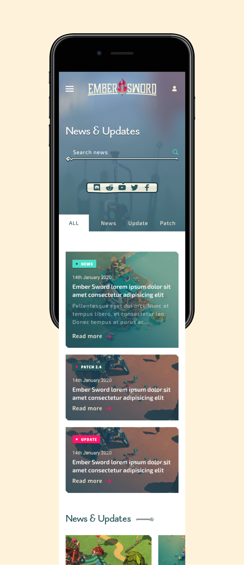 Ember Sword mobile news page UI design