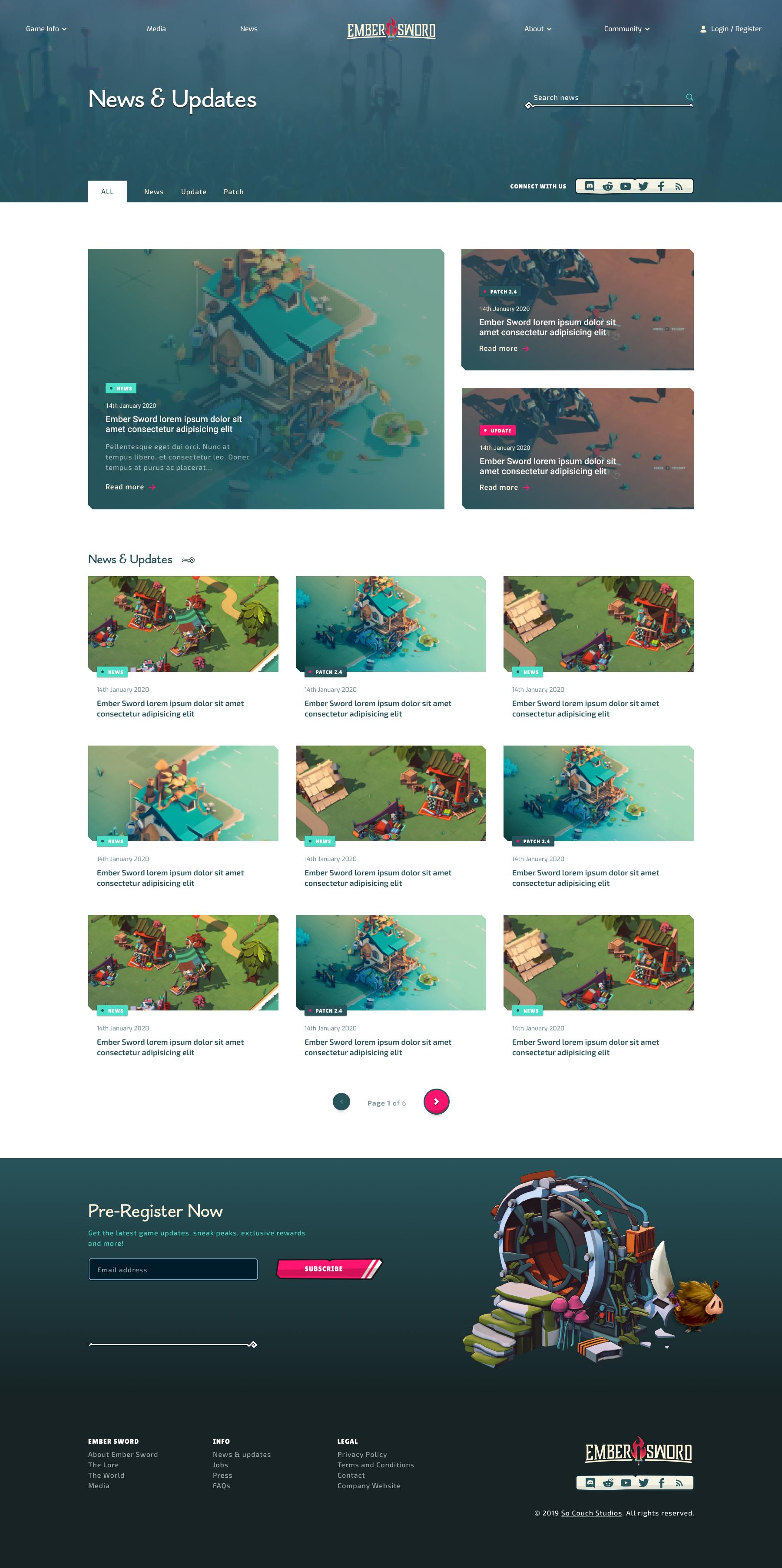 Ember Sword - News index page design