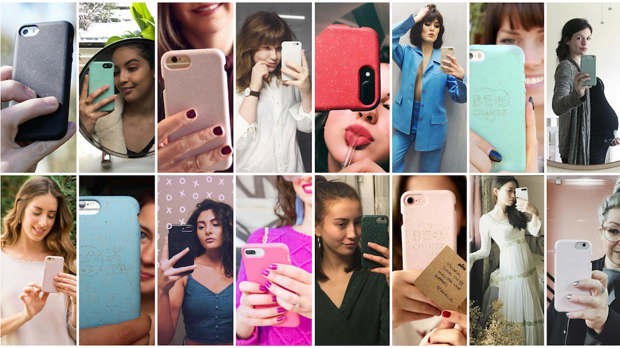 Collage of people taking selfies with Pela cases