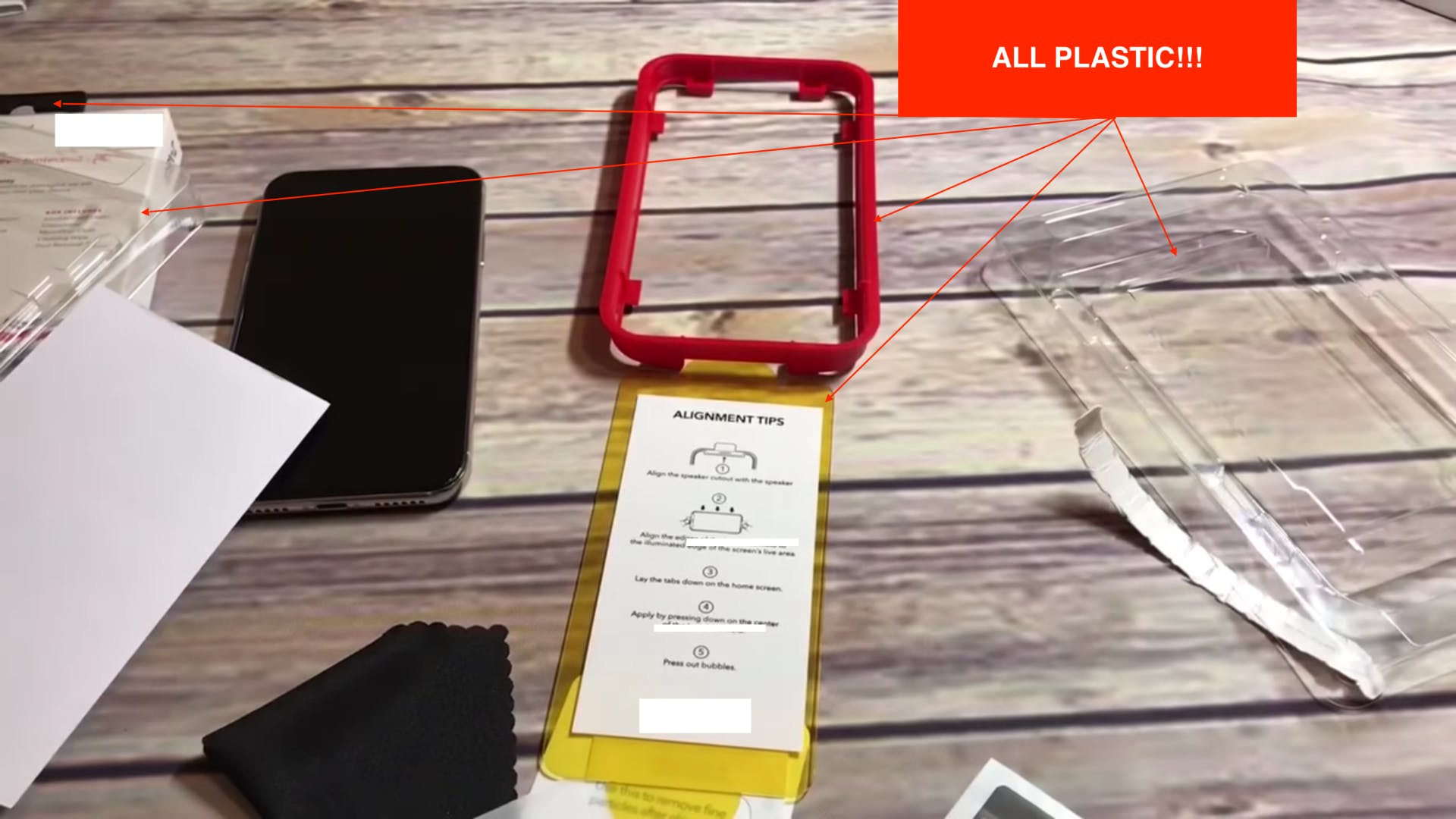 Conventional plastic screen protectors and the waste they produce
