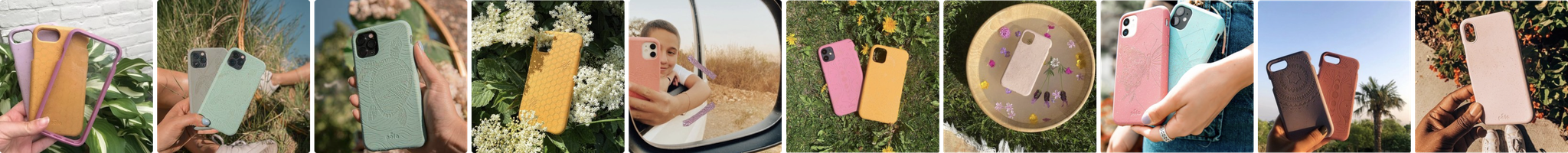 Grid of biodegradable, eco-friendly Pela phone cases