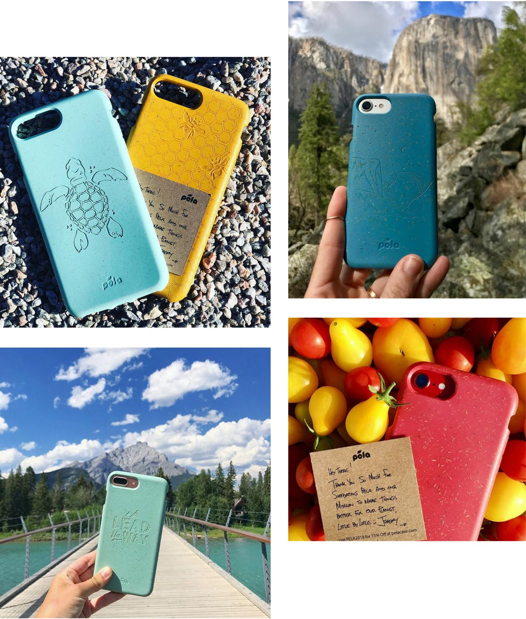Grid of Pela biodegradable, eco-friendly phone cases