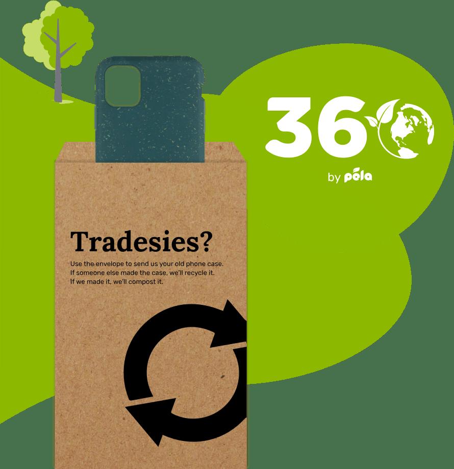 Pela 360 Tradesies envelope and phone case