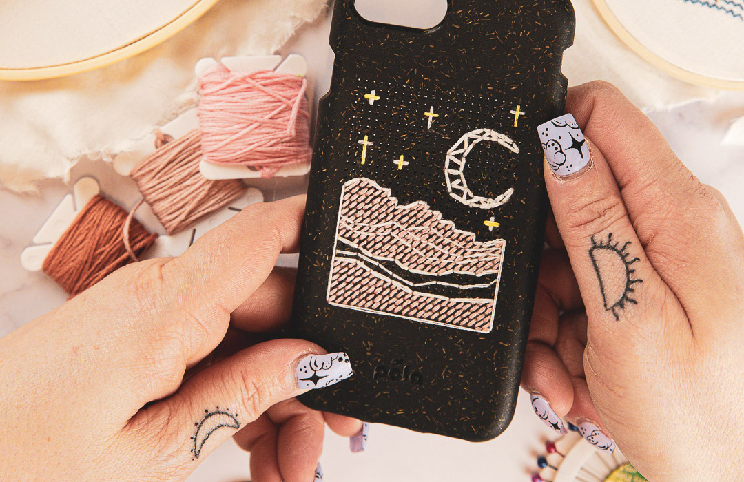 Biodegradable eco-friendly Pela Stitch phone case with embroidered night sky