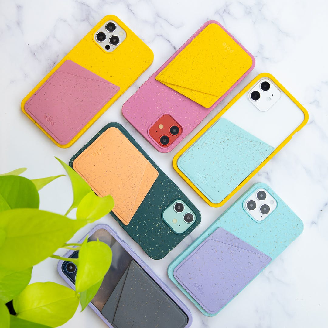 Pela biodegradable eco-friendly phone cases with Pela card holders