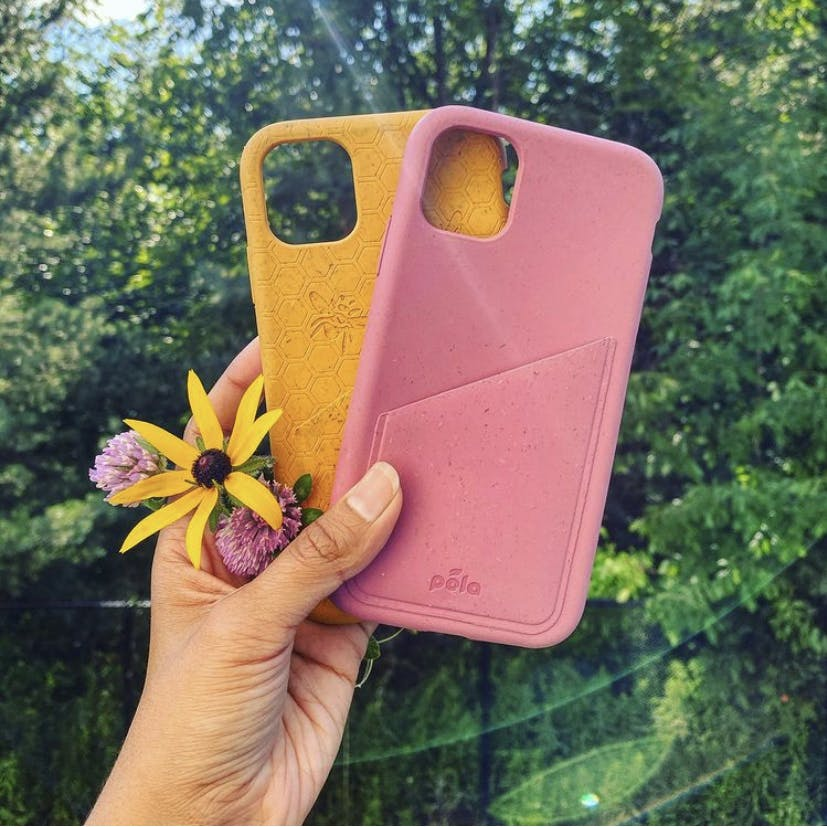Two biodegradable eco-friendly Pela phone cases